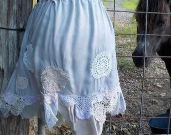 free spirit hippy skirt - crochet + vintage lace + silk, one size