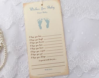 Wishes for Baby Boy Tags Dear Baby Boy Tags Baby Shower Wish Tree Tags Blue Footprints Set of 10
