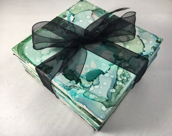 Decorative Ceramic Tile Coasters | Set of 4, Pastel Teal, Green | Drink Coasters, Alcohol Ink, Home Decor, Housewarming Gift, Wedding Gift