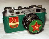 1958! Green Made in USSR FED-2 camera Russian Leica with -=Marx and Engels=-