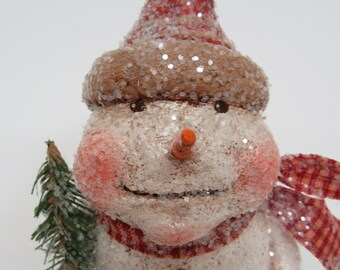 Paper Mache Snowman - Whimsical Snowman - Folk Art Snowman - Snowman Sculpture