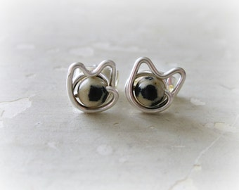 Small Cat Earrings, Spotted Cat Studs, Small Cat Studs, Sterling Earrings Cat, Cat Jewelry, Cat Lover Gift, Sterling Silver Studs, Cat Posts