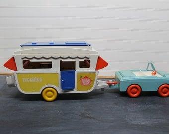Vintage Weebles Pop Up Camper and Car
