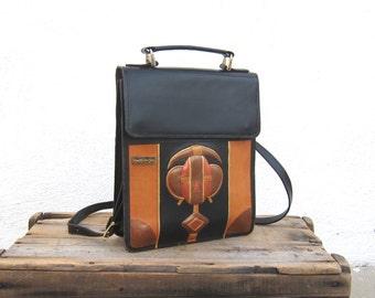 Marvin Sin Handmade Leather African Art Satchel Shoulder Bag