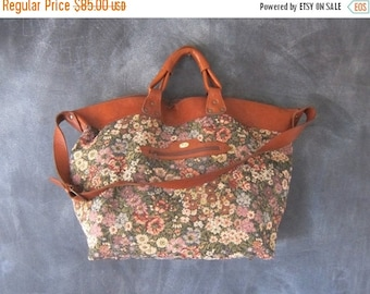 15% OFF Out Of Town SALE 80s Giant Tote Vintage Floral Tapestry Large Duffle Overnight Slouchy Travel Bag