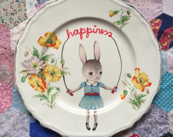 Happiness Skipping Bunny Vintage Illustrated Plate