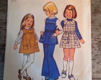 Vintage Simplicity Sewing Pattern 5937 Child's Jumper Tunic Bell Bottom Pants Size 4