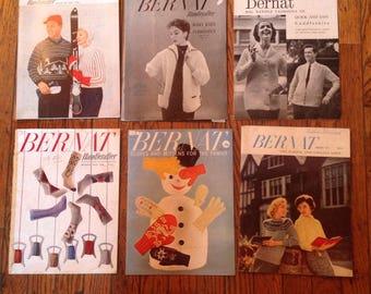 Vintage 1950's Bernat Handicrafter Knitting Magazine Lot Instructions Patterns