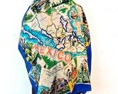 vintage Mexico scarf - 1950s-60s silk map print souvenir scarf