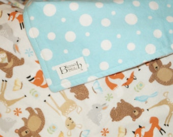 Woodland Nursery! Flannel Baby Blanket, Forest Animals - Foxes, Bears, Deer, Rabbits, Adorable Baby Blanket, Perfect for a Toddler