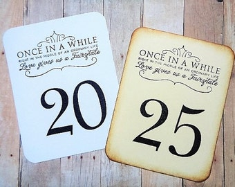 Fairytale Wedding Table Numbers Happily Ever After Vintage Style or Black and White
