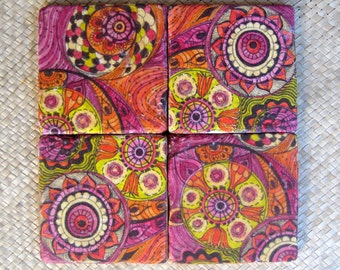 TILE COASTERS handmade-set of 4 pink orange yellow lime green tile coasters by devikasart