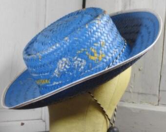 Vintage Cowboy Hat Straw Blue with Cowboy Design Child's Adorable