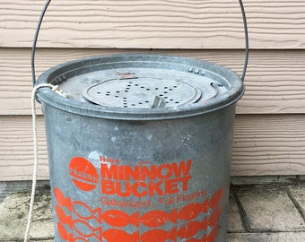Vintage Minnow Bucket USA Milwaukee Farbill Galvanized