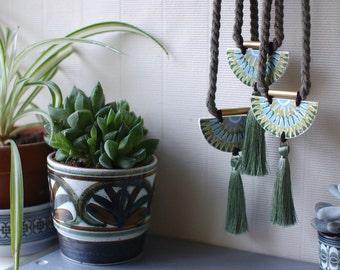 StayGoldMaryRose - Beautiful 'Kalka' stoneware tassel pendant on long olive twisted cotton rope.