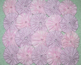 """Fabric YoYos, 20 Pink And Lavender Print, 2"""" Size, Crafting, Appliques, Embellishments"""