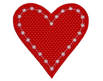 "Candlewick Heart applique machine embroidery design pattern in 4 sizes 3"", 4"", 5"" and 6"""