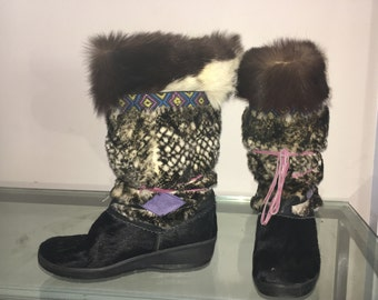 size 9 vintage MUKLUK boots chinchilla goat fur made in Italy