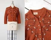 RESERVED // vintage 1950s cardigan / 50s beaded sweater / rust wool sweater / Anemone sweater