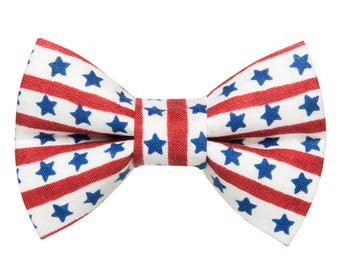 "Cat Bow Tie - ""The Star Spangled Kitty"" -  Patriotic Stars + Stripes LIMITED"