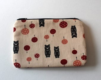 Japanese Kawaii Bashful Bears Zip Pouch - Small Zip Pouch Coin Purse Wallet - Made from Japanese import fabric