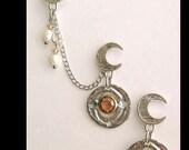 Topaz Crescent Moon Stud Earring