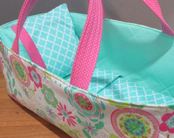 Doll Carrier ,Aqua and Pink, Aqua Lining, 14 Inches Long