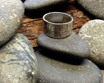Square textured hammered sterling ring