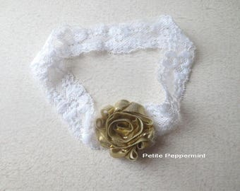 Gold Baby Headband, Baby Flower Headband, Baby Hair Bow, Baby Girl Headband, Baby Head Band Lace, Newborn Headband Photo Prop