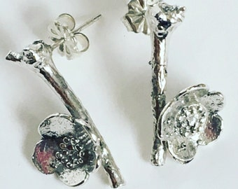 Sterling silver granulated blossom & twig post earrings (EP-SSBT)