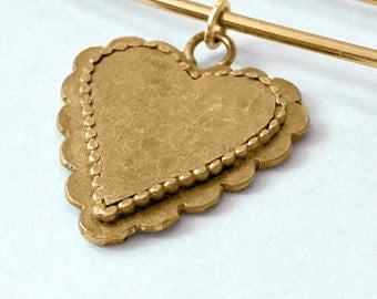HEARTS FOR CHARITY: Large Gold Scalloped Heart Sweater pin/Brooch and Pendant, 50% of sales price goes to charity (safetypin project)