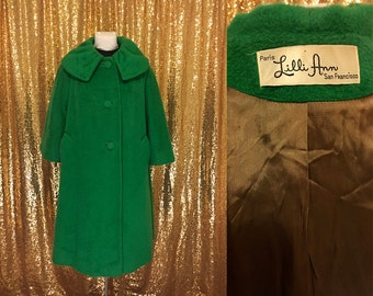 Vintage Lilli Ann Swing Coat // 1960s Kelly Green Mohair Winter Coat // Bell Sleeves Wool // Large XL Plus Size San Francisco Paris