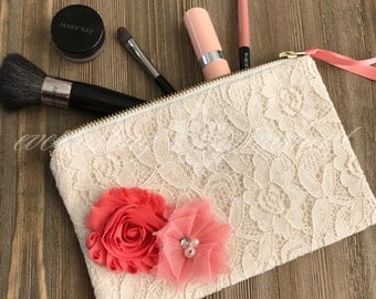 Ivory Lace Coral Floral Cosmetic Bag with Zipper LipSense bridesmaid gift make up bag bridal party gift