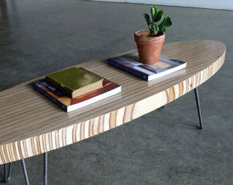 Mid Century Modern Eames Inspired Birch Plywood Surfboard Coffee Table w/ Hairpin Legs