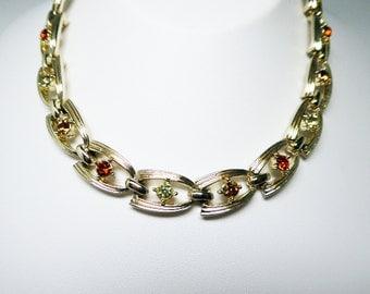 Vintage Rhinestone Choker Necklace - Gold Tone Links - Yellow & Dark Topaz Tone Glass Rhinestones - Signed Coro 1950s Jewelry