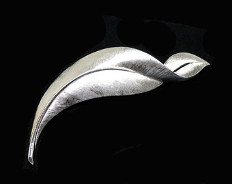 Vintage Trifari Curled Leaf Brooch - Brushed Silver Tone Elongated Leaves - Signed Crown Trifari Mid Century 1950's 1960's Classic Pin