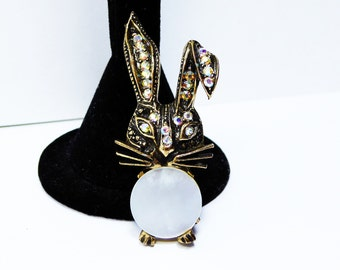 Easter Bunny Brooch - Rhinestone Floppy Ears and Mother of Pearl Round Tummy - Aurora Borealis Rhinestones - Vintage 1960s 1970s Figural
