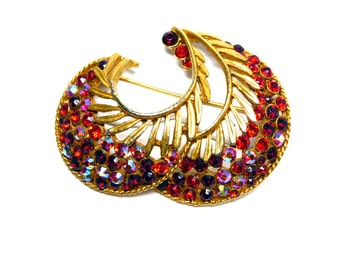 Vintage Red Aurora Borealis Rhinestone Brooch - Signed BSK Gold Tone Pin - Double Paisley with Opened Work - Designer Signed 1950s 1960s Era