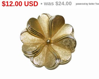 Trifari Vintage Flower Brooch - Round Pinwheel Style - Designer Signed Brushed Goldtone Pin