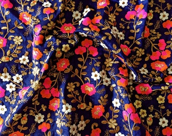 navy embroidered fabric - floral embroidery on navy blue - fabric by the yard - navy fabric - HALF YARD - emb025