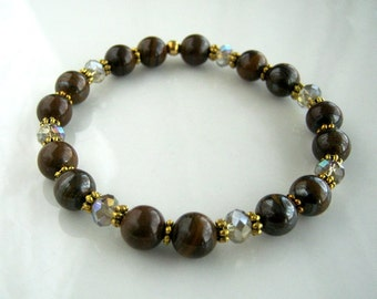 Crystal and Marbled Brown Agate Stretch Bracelet Brown Stacking Bracelet