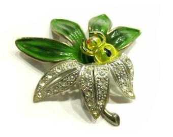 """Vintage Spider Enamel Green Leaf Brooch Vintage Bug Pin 2 1/4"""" Large Green Brooch Gift for Mom For Her Gift Idea Under 50"""