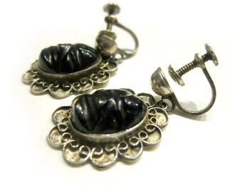 Vintage Onyx Face Earrings Signed Sterling Black Carved Faces Gemstone Screw Back Handcrafted Jewelry Under 25
