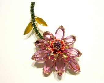 Vintage Pink Rhinestone Brooch Long Pink Flower Pin Enamel Open Back Rhinestone Vintage Jewelry Gift for Her Gift Idea For Mom