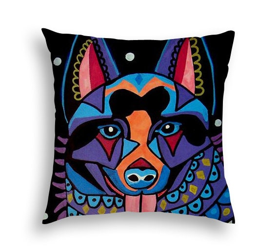 Modern Art Pillow : Schipperke Art Pillow Dog Modern Abstract Art by Heather