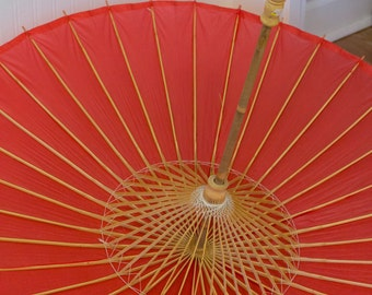 Vintage Paper Parasol, Large Red Japanese Umbrella , Asian Home Decor, Photography Photo Prop