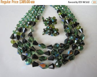 On Sale 1950s Eugene Necklace Earrings / Haskell / 4 strand Glass green beads / Mad Men