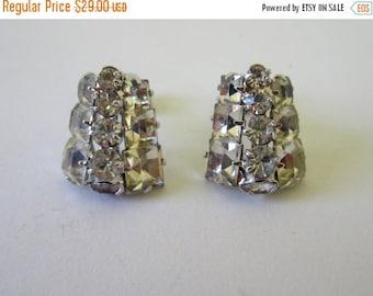 On Sale Rhinestone 1960s Earrings. Glitz Glam and all that Glitters