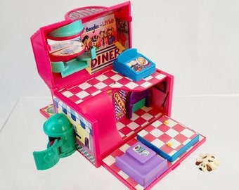 vintage 90s Pound Puppies Miniature Diner Play set Playset Compact Cary Case Doll House Galloob Kibble Korner