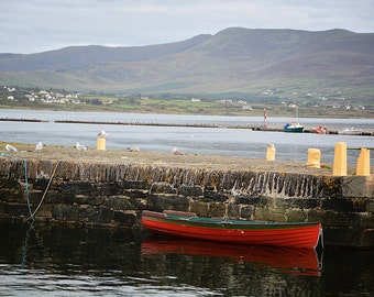 St Patricks Day, March, Ireland, Fishing, Fisherman, Man Cave, Red, Green, Boat, Sea, Dock, Mountains, Seagulls, Margaret Dukeman, Fine Art
